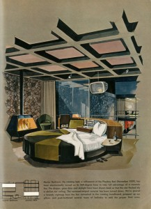 Master Bedroom im Playboy Townhouse Architekt: R. Donald Jaye, Zeichnung: Humen Tan, Maiausgabe Playboy 1962 © Playboy Enterprises International, Inc.